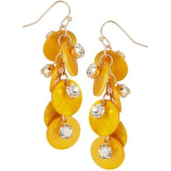 Bay Studio Yellow Shell & Crystal Cluster Drop Earrings