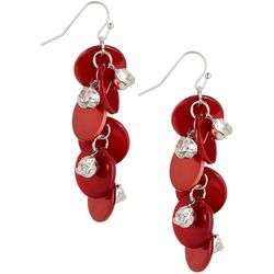Bay Studio Red Shell & Rhinestone Dangle Earrings