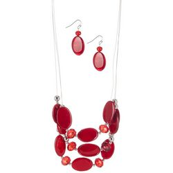 Bay Studio Oval Bead Illusion Necklace & Earring Set
