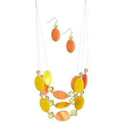 Oval Bead Illusion Necklace & Earring Set