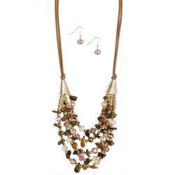 Bay Studio Eclectic Beaded 5 Row Necklace & Earring Set