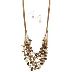 Eclectic Beaded 5 Row Necklace & Earring Set