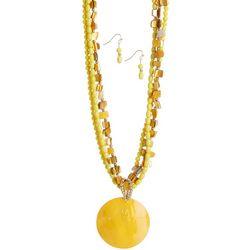 Bay Studio Shell Beaded Multi Row Necklace & Earring Set