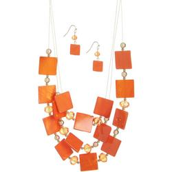 Square Bead Illusion Necklace & Earring Set