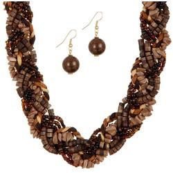 Shell Beaded Braid Necklace & Earring Set
