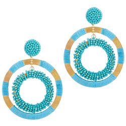 Bay Studio Turquoise Beaded Dropped Orbital Hoop Earrings