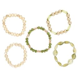 Bay Studio 3 Pc Gold Tone & Olve Beaded Bracelet Set