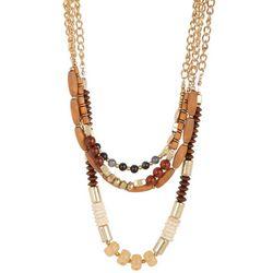Bay Studio Four Row Wood Bead Necklace