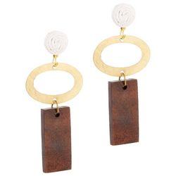 Bay Studio Hammered Oval & Wood Drop Earrings