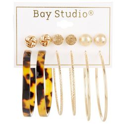 Bay Studio 6-pc Textured Studs and Hoops Earring Set