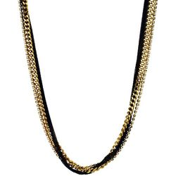 Wearable Art By Roman Multi Row Black & Gold Tone Necklace
