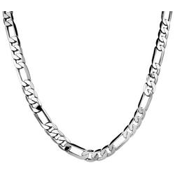 By Roman Silver Tone Figaro Link Necklace
