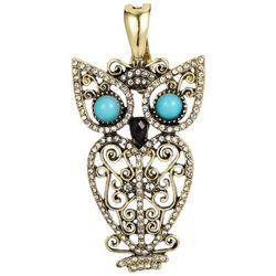 Wearable Art By Roman Rhinestone Owl Pendant