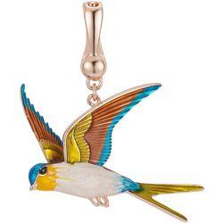 Wearable Art By Roman Goldtone Enamel Hummingbird Pendant