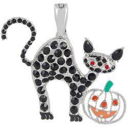 Wearable Art By Roman Rhinestone Halloween Cat Pendant