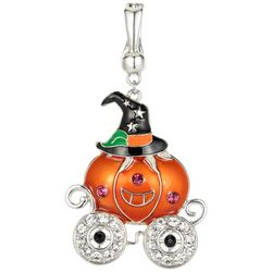 Wearable Art By Roman Rhinestone Witch Pumpkin Pendant