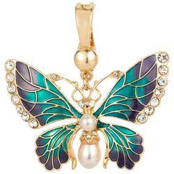Wearable Art By Roman Rhinestone Butterfly Pendant
