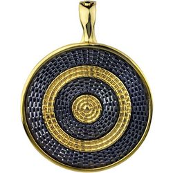 Wearable Art By Roman Two Tone Inlaid Chain Disc Pendant