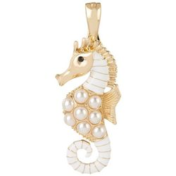 White Enamel & Gold Tone Seahorse