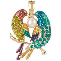 Wearable Art Multi Crystal Double Bird Pendant