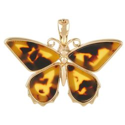 Wearable Art Inlaid Tortoise Butterfly Pendant