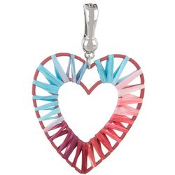 Wearable Art Raffia Wrapped Open Heart Pendant