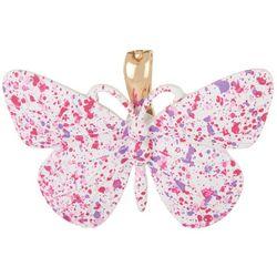 Wearable Art White & Speckled Butterfly Pendant