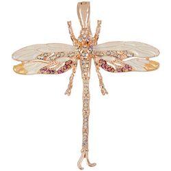 Rose Gold Rhinestone Dragonfly Pendan