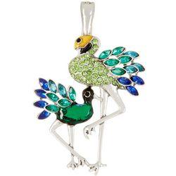 Wearable Art Blue Green Double Peacock Pendant