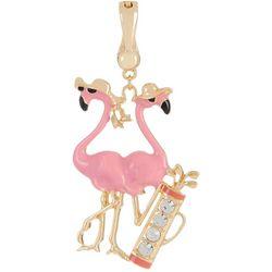 Wearable Art By Roman Golfing Pink Flamingo Pendant