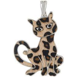 Wearable Art Fuzzy Leopard Cat Pendant