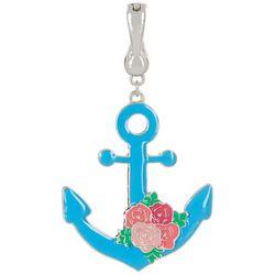 Wearable Art Blue Floral Anchor Pendant