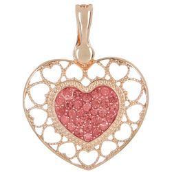 Wearable Art Pave Pink Rhinestone Heart Pendant