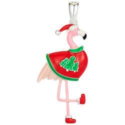 Wearable Art By Roman Flamingo Holiday Sweater Pendant