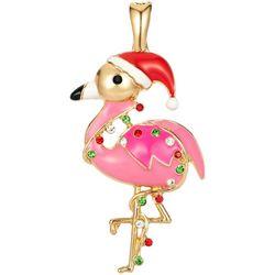 Wearable Art By Roman Christmas Flamingo Pendant