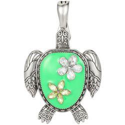Wearable Art By Roman Floral Turtle Pendant