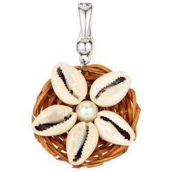 Wearable Art By Roman Cowrie Shell Flower Pendant