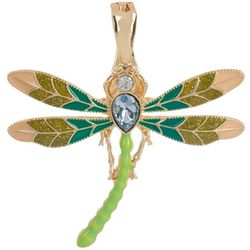 Wearable Art By Roman Enamel & Rhinestone Dragonfly Pendant