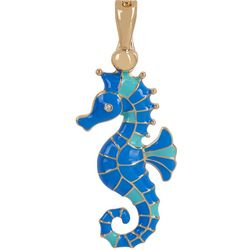 Wearable Art By Roman Enamel & Rhinestone Seahorse Pendant