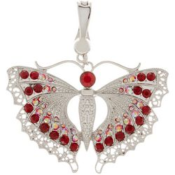 Wearable Art By Roman Red Multi Rhinestone Butterfly Pendant