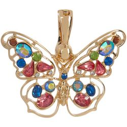 Wearable Art By Roman Colorful Rhinestone Butterfly Pendant