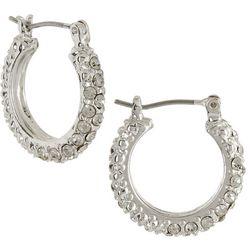 Roman Clear Rhinestones Hoop Earrings