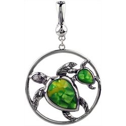 Wearable Art By Roman Yellow & Green Turtle Family Pendant