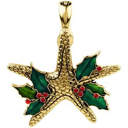 Wearable Art By Roman Christmas Holly Starfish Pendant