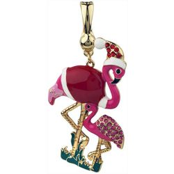 Wearable Art By Roman Christmas Flamingo Pendant