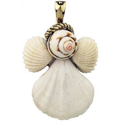 Wearable Art By Roman Christmas Shell Angel Pendant