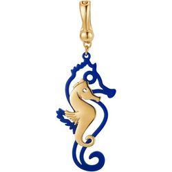 Wearable Art By Roman Goldtone Enamel Seahorse Pendant