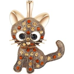Wearable Art By Roman Goldtone Jewelws Cat Pendant