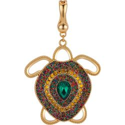 Wearable Art By Roman Goldtone Jeweled Turtle Pendant