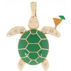 Wearable Art Coastal Turtle & Cocktail Pendant
